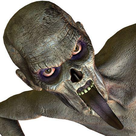 aggressively: 3D rendering di uno zombie come illustrazione
