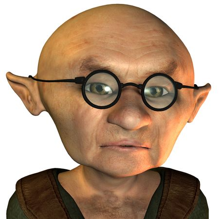bald cartoon: 3D rendering of a sad old man with glasses and bald head