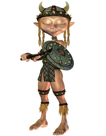politely: 3D cartoon style rendering of a small Viking dreamy girl