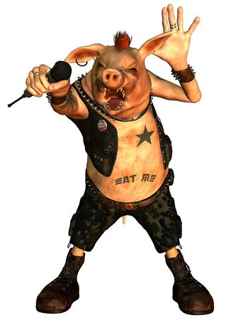 3D Rendering of a Punk Pig photo