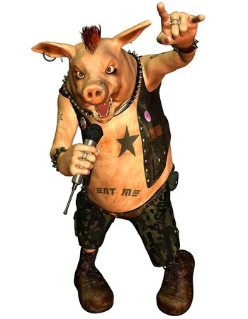3D rendering of a Heavy Metal Pig Stock Photo - 8053543