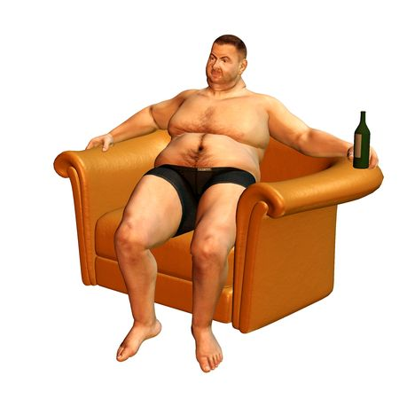 double chin: 3d rendering a thick man, who relaxed in the armchair as illustration