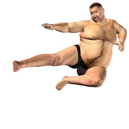 slip homme: rendu 3D une �paisse man en sc�ne carats comme illustration Banque d'images