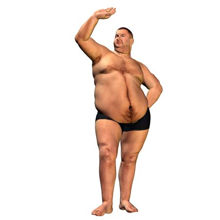 fat person: 3d rendering a thick man in welcoming pose as illustration