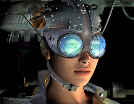 3D rendering of a portrait of a post-apocalyptic young woman photo