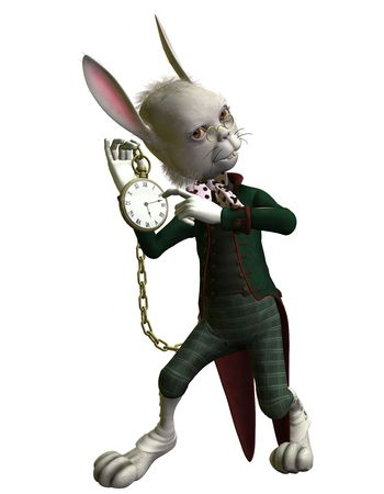 3D rendering of a rabbit showing a Clock Stock Photo - 8145366
