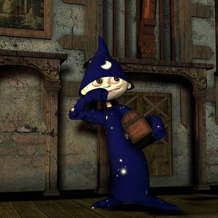 3d rendering of the little magician, who steals a treasure as illustration Stock Illustration - 8145368