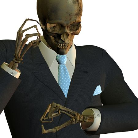 3d rendering skeleton in the Business fashion in telephone to pose as illustration Reklamní fotografie
