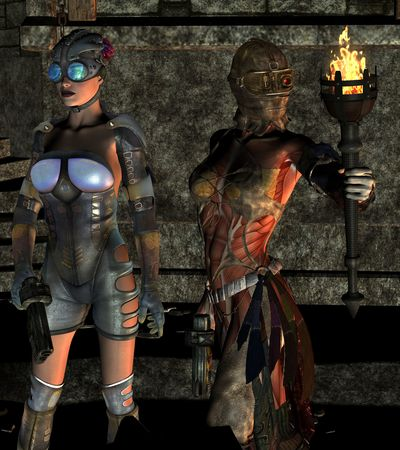 3D rendering two women armed with a torch photo