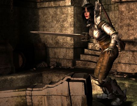 3D rendering of an Amazon warrior alone in the Dungeon