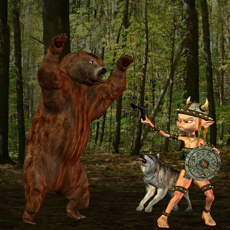 attacked: 3d rendering a bear attacked on a Viking girl as illustration Stock Photo