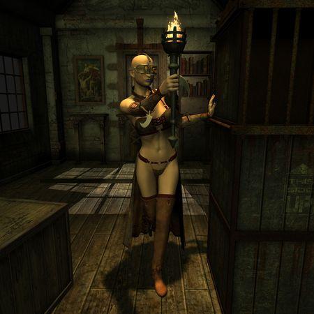 3D Rendering einer Frau mit einer Fackel in einem dunklen Raum Standard-Bild - 8219924