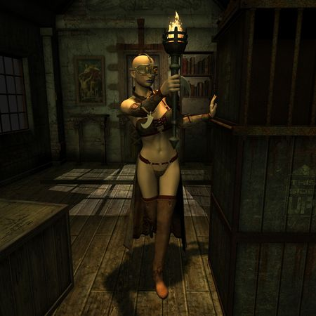 post apocalypse: 3D rendering of a woman with a torch in a dark room