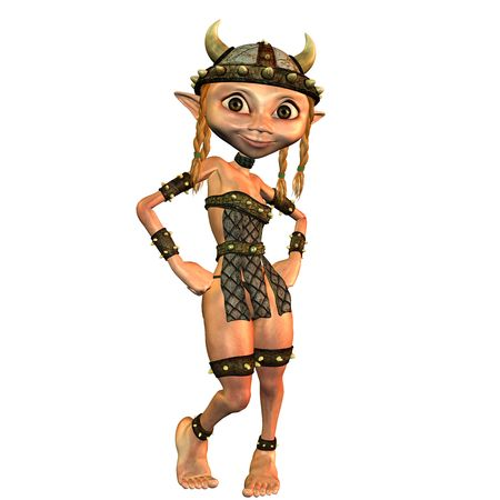 charmingly: 3d rendering a Viking a girl in pose as illustration Stock Photo