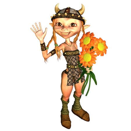merrily: 3d rendering Vikings of a girl with flowers in the hand as illustration Stock Photo