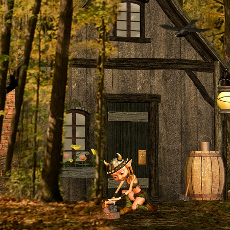 3d rendering one of Vikings inhabited house in Wald as illustration Stock Illustration - 8286468