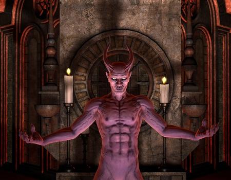cuernos: Diablo de procesamiento 3D en frente de un santuario oscuro