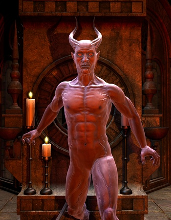 3D Rendering Satan in front of a Shrine