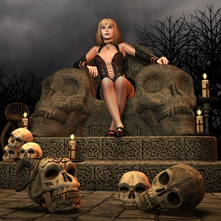 3D Rendering woman sitting on the throne of death Stock Photo - 8286483