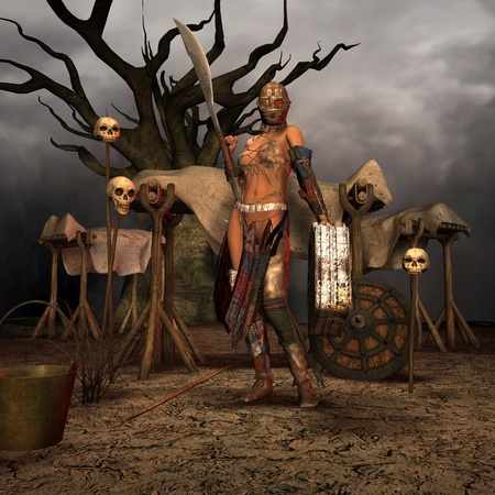 3D rendering of a post-apocalyptic warrior