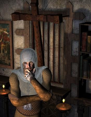 3D Rendering Thoughtful ridders in de gebeds ruimte