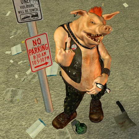 3d rendering a punk pig long-stretched middle finger as illustration Stock Illustration - 8286526