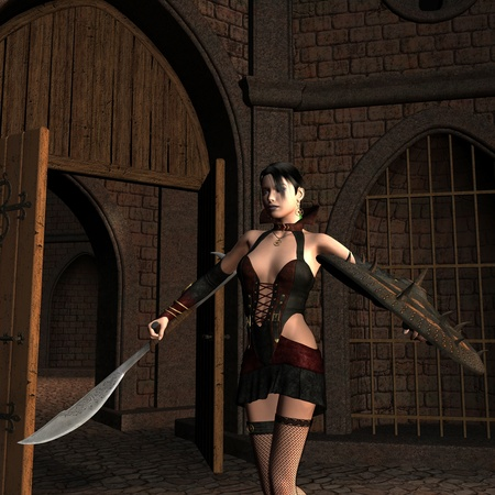 middle age women: 3D rendering of a young female fighter in the Courtyard