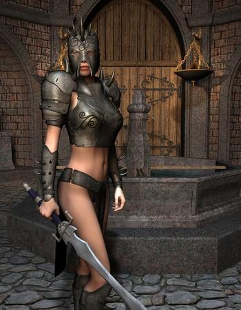 3D rendering sword fighter in armor in front of fountain