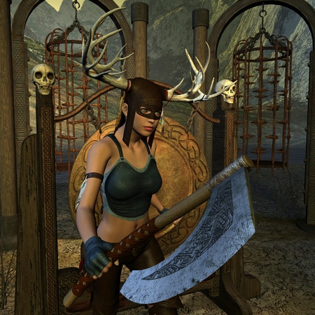 medieval woman: 3D rendering of a female huntress War Axe Stock Photo