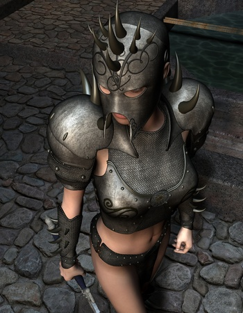 courtyard: 3D rendering of a female warrior in armor