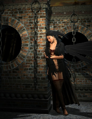 recite: 3D rendering of a mysterious woman with dark cape
