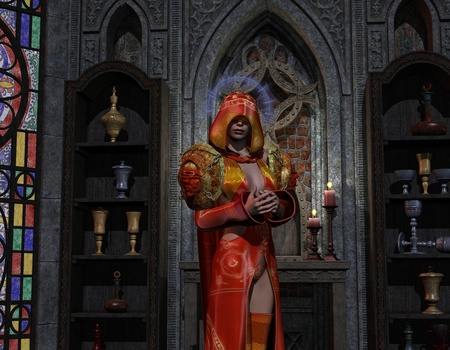 conjuring: 3D rendering of a necromancer at the altar Stock Photo