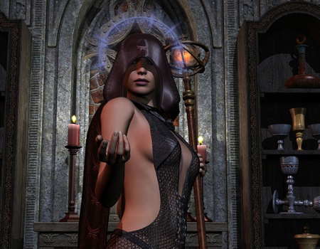 3D Rendering of a Necromancer with a Halo Stock Photo - 8346687