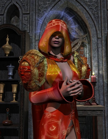 conjuring: 3D rendering of a blind holy priestess at the altar