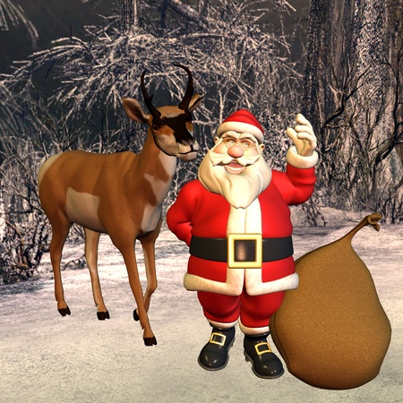 aide: 3d rendering of Santa Claus with bag and reindeer in the forest as illustration