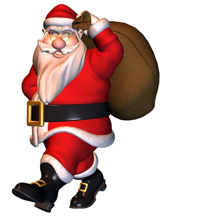 red boots: 3d rendering of Santa Claus with bag as illustration