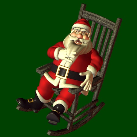 3d rendering of Santa Claus in the swinging chair Stock Photo - 8395788