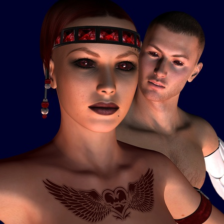 3d rendering of woman and man with red eyes as illustration illustration