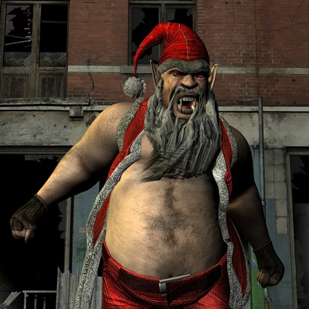 3D rendering of an evil, aggressive Santa Claus photo