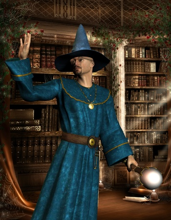 robe: 3D rendering mage with blue robe in a library Stock Photo