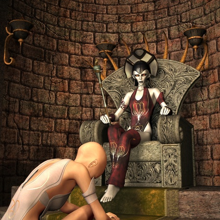womanlike: 3d rendering a queen on the throne as illustration