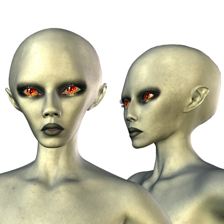 alien clipart: 3d rendering a Aliens with red eyes in foremost and side view as illustration