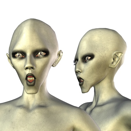 humanly: 3d rendering a Aliens with white eyes in foremost and side view as illustration