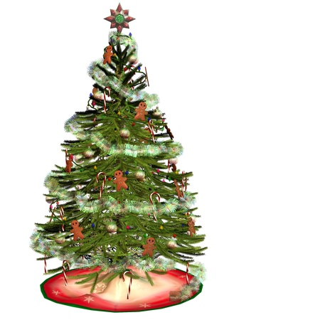 3d rendering a decorated Christmas tree as illustration illustration