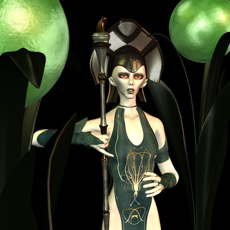 womanlike: 3d rendering an alien a Queen  in  green light as illustration