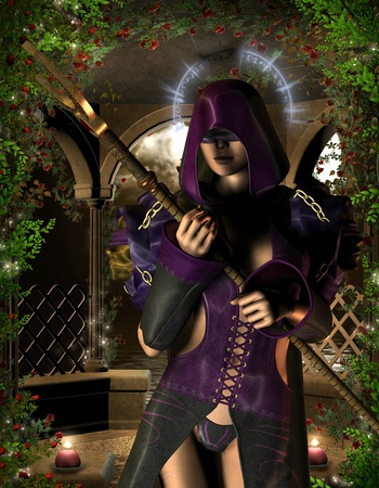 blindfold: 3D rendering mystical young blind sorceress with a Halo Stock Photo