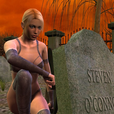 3D rendering of a young woman at the grave Stock Photo - 8462611