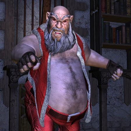 beer belly: 3D rendering fat evil Santa Claus Stock Photo