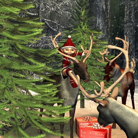 sexy christmas elf: 3d ending ring  of a Christmas scene in the forest with reindeers,  elf and gifts as illustration