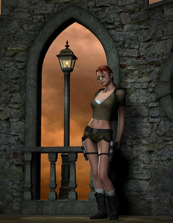 parapet wall: 3D rendering Adventure Girl in front of a castle wall